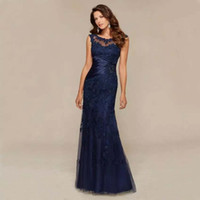 Navy Blue Lace Mermaid Mother of the Bride Dresses 2021 Appliques Beaded Formal Formale Sera Prom Gowns Robe de Soiree