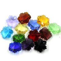 14mm Charms Verre Cristal Snow Flake à facettes Perles Pendentif Bijoux DIY Constatations Lâche Perles Accessoires Crystal Perles