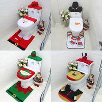 WC Sitzbezüge Weihnachtsdekoration 3 Teile / los Santa Elk Elf Toilettensitzbezüge Teppich Hotel Badezimmer Set Weihnachtsgeschenk liefert
