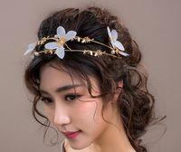 Coréen mariée mariage chapeaux blanc accessoires papillon couronne accessoires en gros