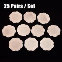 25 çift / torba Çiçek Yapışkanlı Meme Pedleri Kapakları Vücudu Göğüsler Çıkartmalar Tek Süt Macun Karşıtı Boşaltılmış Göğüs Macun Bra