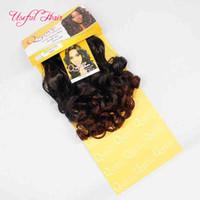 Brezilyalı saç demetleri sentetik örgü İtalyan kıvırcık saç örgüleri kapatılması 20 inç ombre renk sentetik örgü saç siyah kadınlar için tüm