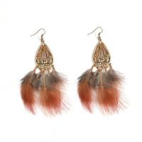 Dreamcatcher Lange Feder Ohrringe Perlen Danglers Bohemia Ethnische Vintage Charme BOHO Urlaub Schmuck