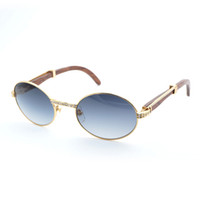 Vintage Rhinestone Wood Sunglasses Men Shades Round Buffalo ...