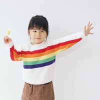 Sweet INS Girls clothing Winter Sweaters Rainbow Knit Pullov...