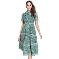 Zawfl Dress Auto Portrait di alta qualità 2018 Estate Donne Elegante Elegante Slim Pink / Green Hollow Out Pizzo A-Line Midi Dress Dress Vestidos