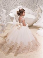 2019 Cute Tulle A Line Flower Girl' s Dresses Lace Appli...