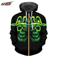 UJWI Man Gothic Zip Hoodies 3D Printed Hip Hop Pirate Beard ...