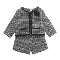 Baby girls plaid outfits children rose long sleeve lattice c...
