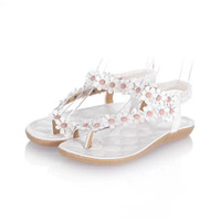 2018 verano nuevo piso con sandalias femeninas clip pies dedo del pie flores rotas zapatos planos sandalias de las mujeres del comercio exterior de Corea