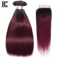 1b 99j Ombre Human Hair Bundles with Closure Peruvian Straig...