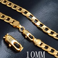 "Miami Cuban Link Cadena Collar 10mm 20 ""Color Oro 18 K Sello Cadena para Hombres Joyería Corrente De Ouro Masculina al por mayor"