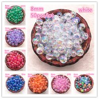 NEW 50pcs 8mm AB Color Round Acrylic Bead Loose Spacer Beads...