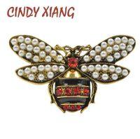 CINDY XIANG 2 Colores Elija Rhinestone y Pearl Bee Broches para Mujeres Joyería Vintage Broche de Insecto de Moda de Alta Calidad