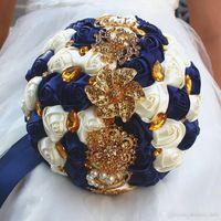 Lindo casamento buquês de noiva marfim ouro brilhante flores Artificial Wedding Bouquet novo brilho de cristal 2018 buquê de noiva
