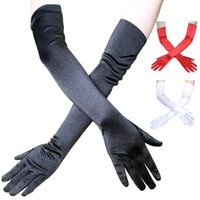 Satén Guantes Largos Señoras Stretch Codo Longitud Opera Plain Prom Evening Party Glove Mujeres Satén Finger Sexy Guantes