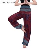 CHRLEISURE Frauen mit hohen Taille Printed Strand Boho Hosen Mode-Harem-Hosen-Frauen plus Größe lose Bohemian Hose Sommer Hose