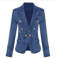 Neue Art-hochwertige Original-Design Frauen Damen zweireihige Schlank Waschen Jeansjacke Metallschnalle Blazer 0utwear 1762