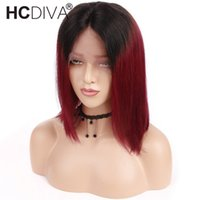 Ombre T1B Burgundy Bob Wigs 13X4 Lace Front Human Hair Wigs ...