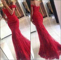Comprimento Pavimento trompete Glamorous Mermaid Lace vestido de baile da fita cintura Off The Shoulder Melhor apliques vermelhos Vestidos on-line