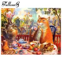 FULLCANG bricolaje 5d gato bordado de diamantes té de la tarde la plaza de perforación de diamante cruz pintura puntada diamante kits de mosaico D647