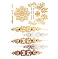 Ventes chaudes tatouage temporaire produits de tatouage d'or collier bracelet tatouage métal femmes flash tatouages argent or métallique