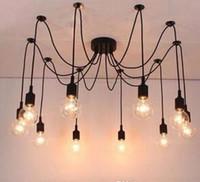 Современный большой паук промышленный черный старинные лампы кулон чердак 14 светодиодные фонари E27 AC 110 В / 220 В для лаундж-бар