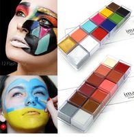 Зеркальный эффект 12 цветов флэш-тату лица тела краска картина маслом искусства Хэллоуин ну вечеринку необычные платья макияж инструменты
