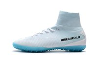 2018 Original White Blue CR7 Flat Tacchetti Mercurial Superfly V TF / IC SX Indoor Kid Scarpe da calcio Cristiano Ronaldo Football Boots
