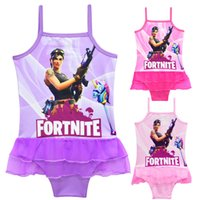 3 Color Baby girls Game Fortnite printing Swimwear 2018 summ...