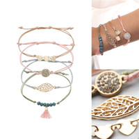 4 pcs set friendship bracelet creative metal leaf heart pead...