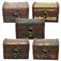 Vintage Holzkiste Fall Schmuckschatulle Organizer Perlenkette Armband Aufbewahrungsbox Geschenk Retro Make-up Veranstalter