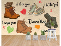 Özel 3d fotoğraf duvar resimleri duvar kağıdı Moda nostaljik ayakkabı basit kadın ayakkabı alışveriş merkezi süpermarket duvar kağıdı duvarlar için 3d