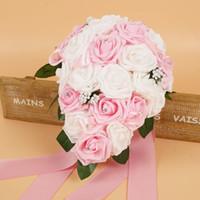 Barato Rosa Rosa Bouquets Bouquets Bouquets Handmade Flores Artificial Rose Casamento Suprimentos Noiva Segurando Flores Bouquet de Broche CPA1575