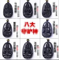 All'ingrosso naturale ossidiana signore buddha otto guardiano dio pendente collana ossidiana ciondolo
