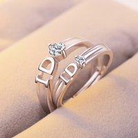 lettre ID Ring avec l'ouverture de zircon diamant gros anneau de bijoux féminins
