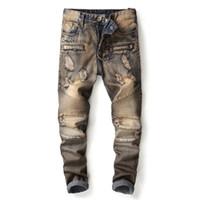 Marca de moda de moda para hombre Ripped Biker Jeans pantalones Slim Fit recta Vintage apenado motocicleta pantalones de mezclilla