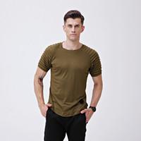 남자 티셔츠 O - 넥 솔리드 쿨 스타일 탑스 짧은 소매 Pleated 줄무늬 고품질 슬림 티셔츠 남자 의류