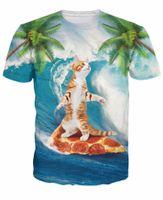 ファッション面白い猫Tシャツ猫ピザヤシの木のスライス上のパラダイスの猫の陽気な夏3D Tシャツの女性男性ティードロップシップ