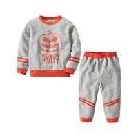 Baby Mädchen Jungen Pullover Halloween Kürbis Muster Pullover Baumwolle Herbst Winter Gestrickte Kinder Langarm Kleidung Set