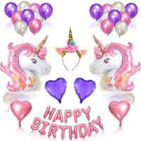 Giant Unicorn Balloon viola compleanno lettera sospensione alluminio Film Party Decor Cartoon Animal Unforget giorni disposizione arrangiamento 29pq ii