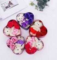 Contenitore di regalo di sapone di bellezza Regalo di San Valentino con 3 fiore 1 orso romantico fiore di sapone rosa 5 colori all'ingrosso misto da DHL