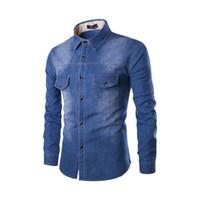 2018 homens cor sólida coon Denim camisa bolso duplo peito magro camisa jean de mangas compridas Single-breasted Lavados plus size
