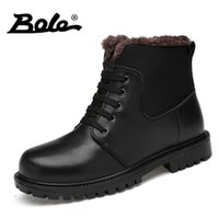 BOLE Large Size 37- 46 Men Winter Boots Plush Keep Warm Snow ...