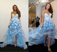Light Sky Blue y White Vestidos de baile High Low Sweetheart Romantic 3D apliques florales Vestido de noche de encaje de flores Vestido de fiesta formal Más tamaño