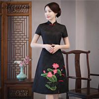 8cb02dca11b Femmes Vestidos Cheongsam Vintage Jacquard Noir Qipao Robes De Soirée De  Féminin Chinois Traditionnel Robe Colliers Orientaux