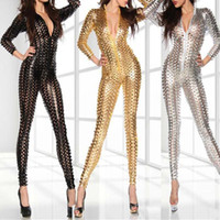 Plus 4XL Donne Hollow Wet Look Sexy tuta Faux Costumi erotici Body Latex Body Catsuit Vinile Fancy Stripper Costume