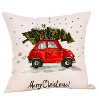 Funda de almohada navideña de 10 estilos con material de algodón, patrón de carros, elementos de dibujos animados, precio de fábrica, ventas al por mayor y fundas de almohadas para la venta