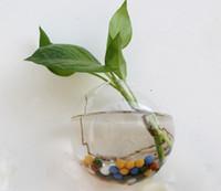 شفافة جدار دائري إناء المائية الإبداعية شنقا جدار زخرفة الزجاج زهرية المنزل من حوض للأسماك الحوض الحلي