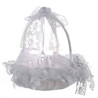 Bianco elegante pizzo fiore ragazza cesto bellissimo rotondo raso seta favori accessorio di nozze decorazione del partito H5618